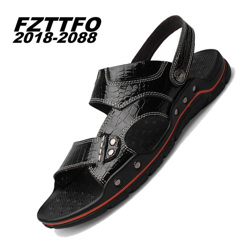 38-48 Mens 100% Genuine Leather New Famous Brand Casual Men sandals Slippers Summer Shoes Beach flip flops K505
