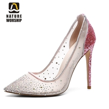 Nature Worship New Fashion Crystal Wedding Shoes Slip On Ladies Pumps High Heels Women Shoes Mesh Pointed Toe Pumps Big Size 43 цена 2017
