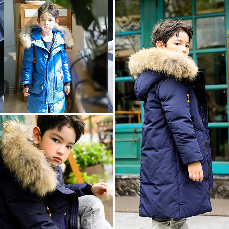 -30 Degree Thick Warm Down Jackets Winter Boys Duck Down Coats Children Natural Fur Long Outwear Kids Hooded Clothes Snowsuits thick warm down jackets 30 degree winter black boys duck down coats children natural fur long outerwear kids hooded clothes