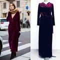 Европейский Женщины Eleagnt Мода Партии Дизайн Плюс Размер XXL Макси Лонг Dress V-образным Вырезом Краткое Сплошной Цвет Свободные Взлетно-Посадочной Полосы Бархатные Платья