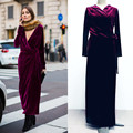 Europeo mujeres eleagnt diseño partido de la manera más el tamaño xxl largo maxi dress v-cuello breve color sólido flojo runway vestidos de terciopelo