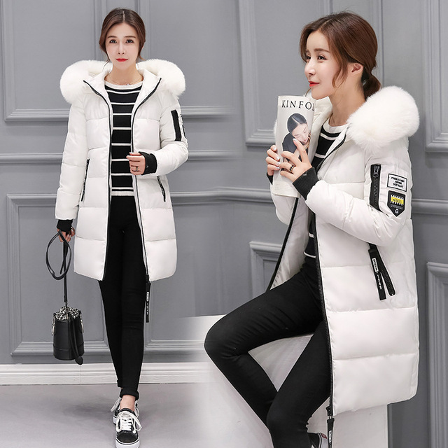 9853e541a98 2018 New winter jacket women long coat female ladies overcoat Parka fur  collar Cotton Padded Warm Coat Plus Size High Quality