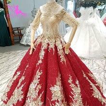 فساتين زفاف AIJINGYU فساتين أوكرانيا قصيرة حجم كبير فرش الدانتيل خمر مع السعر الجاهزة ثوب الزفاف فستان الزفاف