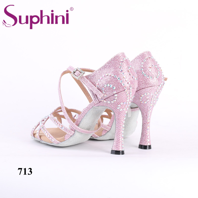 цена на Pink Glitter Latin Dance Shoes Rhinestone Salsa Latin Dance Shoes Woman Suphini Latin Shoes Free Shipping