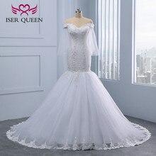 Encaje bordado cuentas de perlas de cristal África sirena vestidos de boda 2020 nuevo de talla grande de lujo rebordear blanco vestido de novia WX0097