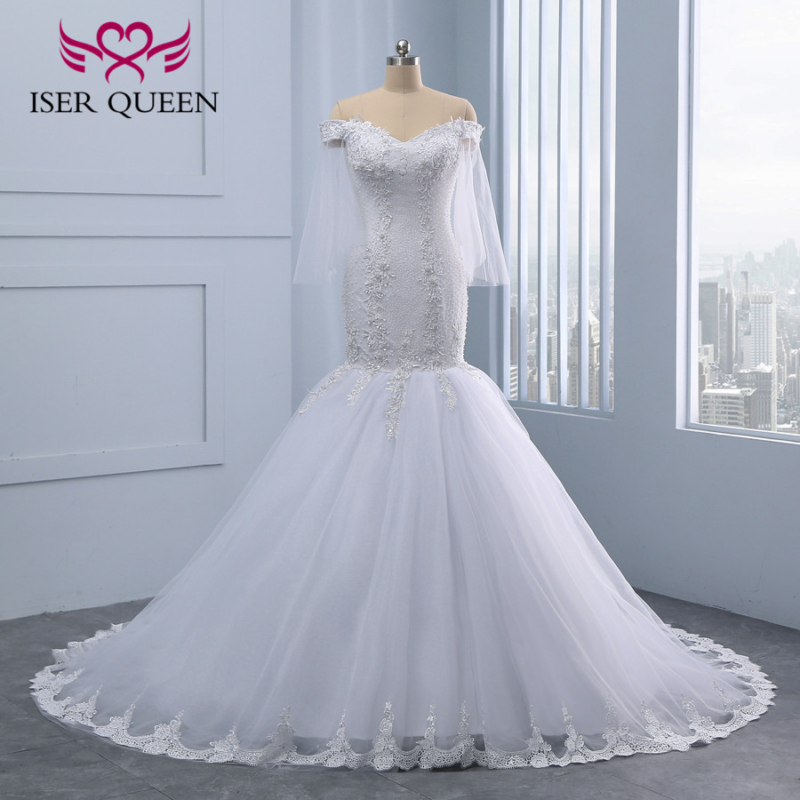 Lace Embroidery Pearl Crystal Beaded Africa Mermaid Wedding Dresses 2019 New Plus Size Luxury Beading White Wedding Dress WX0097