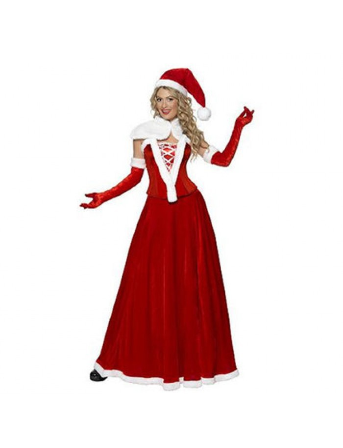 New christmas costumes sleeveless long red christmas dress with red