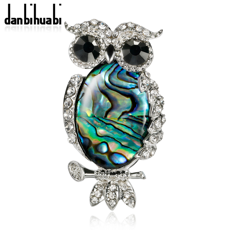 Danbihuabi New Natural Shell Owl Brooches Women MenS Cute Bird Animal Banquet Scraf Brooches ValentineS Day Gift