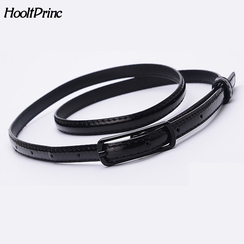 Candy Color Patent Leather Belt Sweetness Womens PU Leather Belts Thin Skinny Waistband Adjustable Belt Woman Belts For Dress