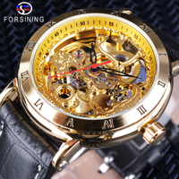Forsining 2018 Golden Royal Carving Roman Number Retro Men Steampunk Watch Top Brand Luxury Automatic Skeleton Wristwatch Clock