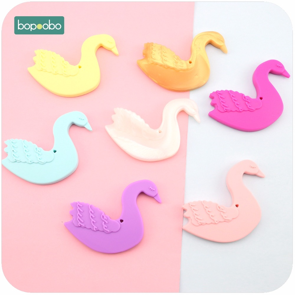 Bopoobo Baby Nursing Accessories Food Grade Silicone 1pc Silicone Swan Jewelry DIY Jewelry Necklace Pendant Baby Teether