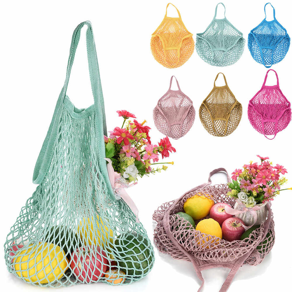 New Bags Fruit Shopping Storage Handbag Reusable Foldable Mesh Net Turtle Bag String Bag Fruit Storage Handbag folding shopping