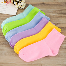free Shipping Women Casual Socks Middle Tube Cotton Ladies Cute 10 Candy Solid Color High Quality Sock Fashion Female S10