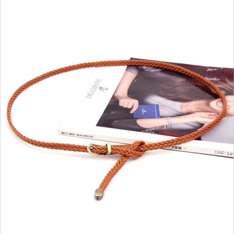 Braided Thin   Belt   2018 New Summer Beach Pink Green Blue White Tan   Belts   for Girls Dress Narrow Strap Waistband