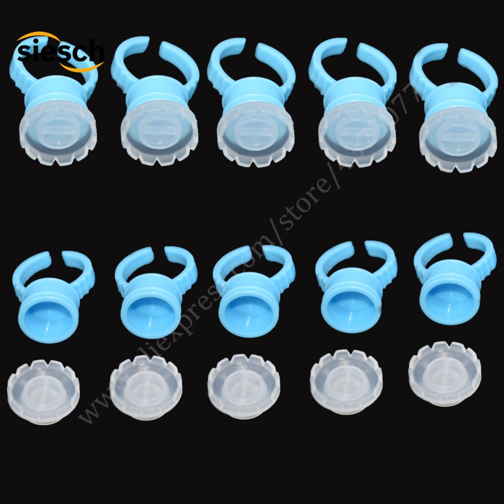 5SETS Eyelash Tool Sets Plastic Blue Eye Lashes Glue Holder Ring Pallet+ Blossom Cup For Eyelashes Extension Makeup Tools