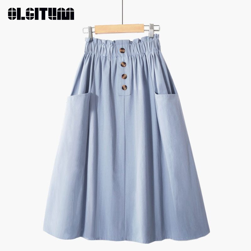 Hot Sale 2020 Spring Summer Casual Women Midi Skirt With Pocket Pure Color High Waist School Skirts Female Cotton Summer Skirt