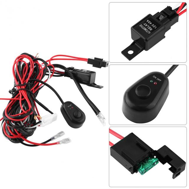 Car Auto ON Off Switch Wiring Harness 12V 40A Relay 30A Blade Fuse Kit LED Work_640x640 aliexpress com buy car auto on off switch wiring harness 12v 40a spotlight wiring harness at bayanpartner.co