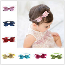 Colorful Baby Headbands Headwear 1 Piece Headwrap Girls Hair Hairband Shiny Bow Tie Head Band Infant Newborn(China)