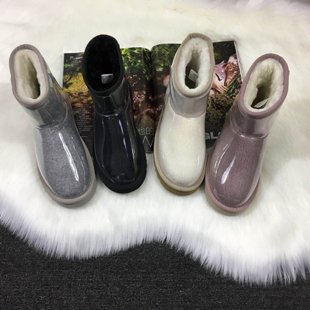 Kmeioo 2019 New Brand Shoes Hot Sale Woman Snow Boots Warm Wool Ankle Boots Women Shoes Flats Black Gray White S