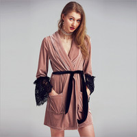 2018 new arrival women robes sexy elegant velvet and lace patchwork top quality silk robes with lace sexy fashion for women
