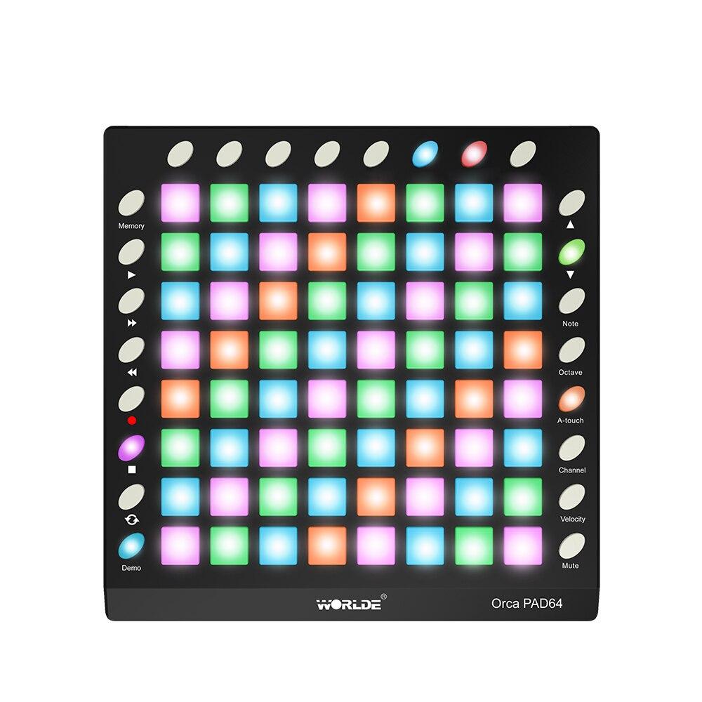 Портативный USB MIDI контроллер для барабана ORCA, 64 RGB разъема с подсветкой, 24 встроенных кнопки, 128 Мб, звуковой модуль с USB кабелем|Электронный орган|   | АлиЭкспресс - Собираем группу