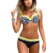 2018 Striped Women Push up Halter Bikinis Swimsuit Sexy Patchwork Bikini Set Swimwear Female Beachwear Biquini Bathing Suit