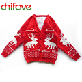 Children's Autumn Winter Clothing Kids Boys Sweater Long Sleeve V-neck Cartoon Deer Children Cotton Christmas Clothes 2 Colors