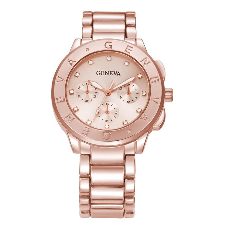 Men Watches Luxury Top Brand GENEVA Stainless Steel Waterproof Quartz Watch Women Male Casual Hours Clock Men Business Watch