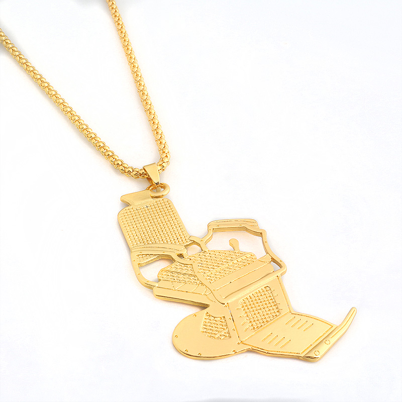 Steampunk Barbers chair Necklace Pendant Gold Necklace for Women And Men Hairdresser Hair Stylist Jewelry