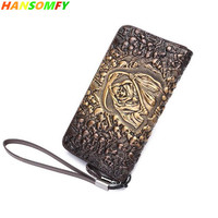 2018 New Skull men's long zipper wallet first layer leather large capacity card purse men fashion vintage wallets
