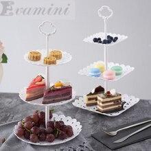 Europäischen stil PP China Obstschale Nachmittagstee Dessertteller Zwei & drei Schichten von obstkörbe PP Tray Kuchenbehälter geschenk