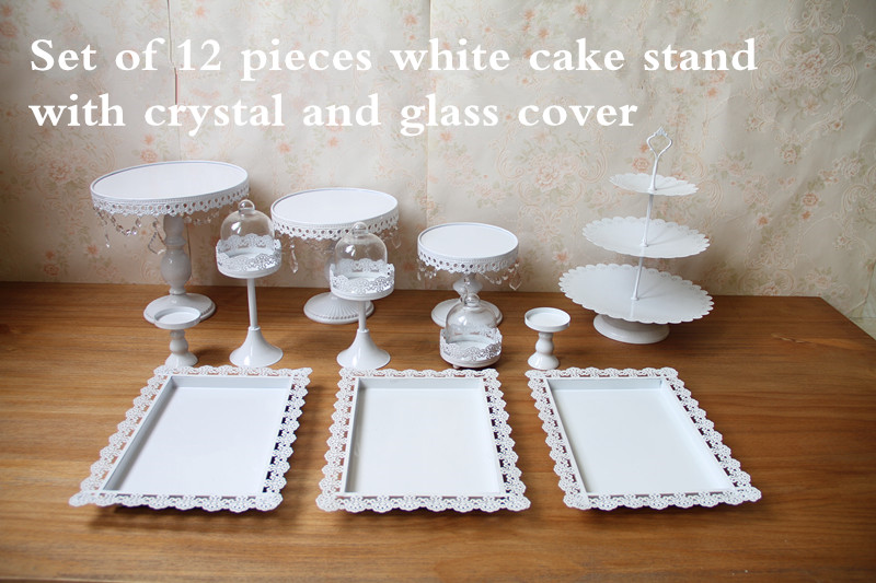 Hot Set Of 12 Pieces Gold Cake Stand Wedding Cupcake Stand Set Glass