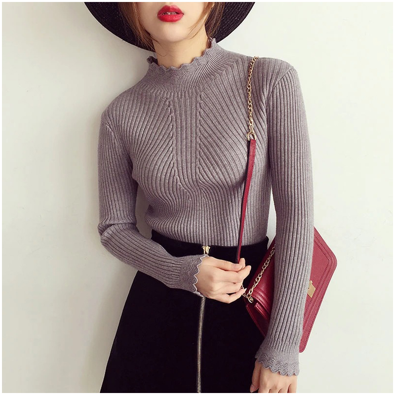 autumn warm sweater women 2018 thick winter turtleneck long sleeve pullovers knitted sweater female tops ruffled collar