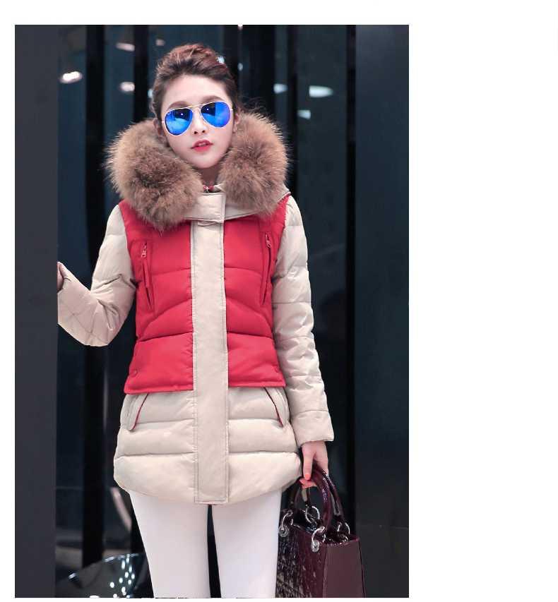 цены на New Arrival Fashion Korean Large Fur Stand Collar Mid Long Slim Duck Jackets Thicken Spliced Parkas Warm Women Outerwears H5226 в интернет-магазинах