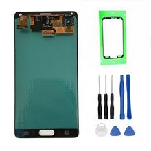 Super AMOLED telefon LCD do Samsunga Galaxy Note 4 Note4 N910 N910A N910F N910H wyświetlacz ekran dotykowy Digitizer zgromadzenia + narzędzia tanie tanio For Samsung Galaxy note4 coreprime Odnowiony 3 Pojemnościowy ekran 2560x1440 Gray White Tested Before Sending Within 2 Days