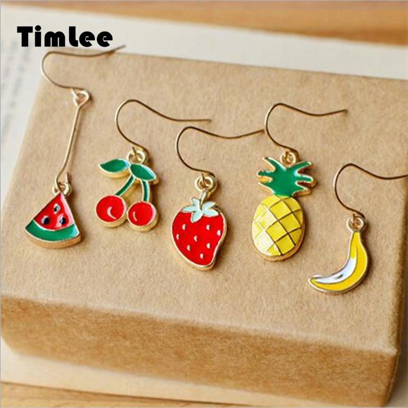 Timlee E133Cartoon Cute Watermelon Cherry Strawberry Banana Pineapple Fruits Drop Earring Beautiful Jewelry