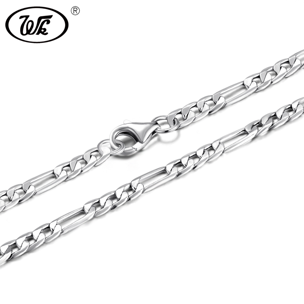цена на WK 50CM-75CM 3MM 925 Sterling Silver Figaro Chain Men Male Mens Silver Necklace Chains Jewelry 20 22 24 26 28 30 Inch 2018 NM021