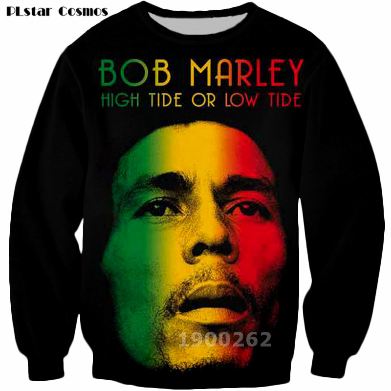 PLstar Cosmos Men Hoodies Fashion Crewneck New Sweatshirt Reggae Star Bob Marley Sweatshirts 3D Print Hoodies SizeS-5XL