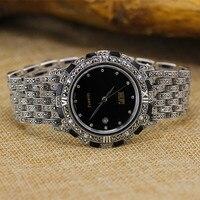 Лидер продаж HF брендовые свадебные туфли в стиле ретро S925 стерлингового серебра Для мужчин часы Для мужчин из натуральной кожи браслет из ч