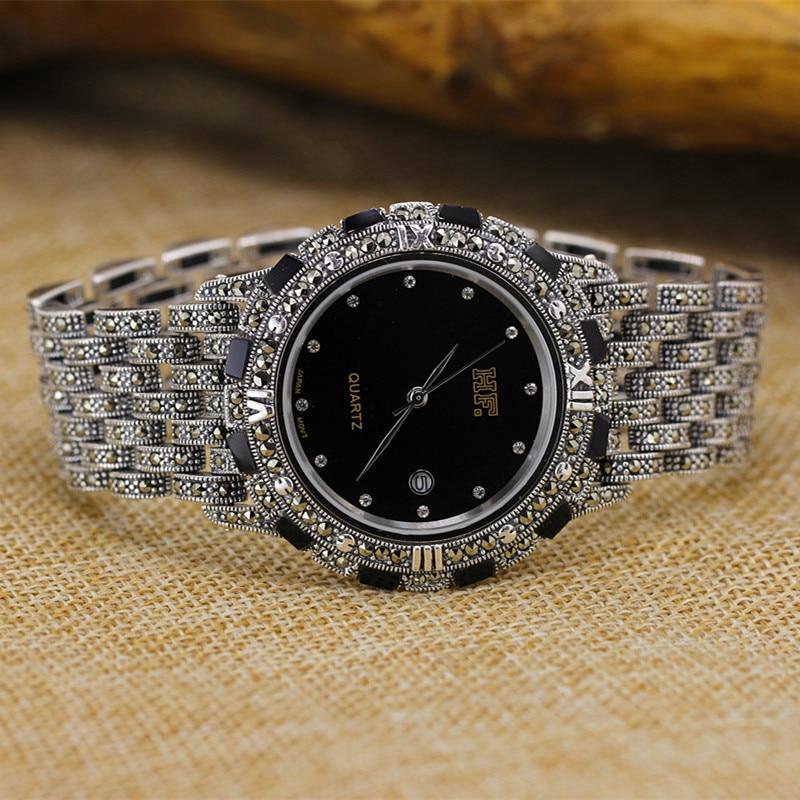 Offre spéciale HF marque rétro S925 en argent Sterling hommes montre hommes réel pur Bracelet en argent montres Bracelet en argent réel