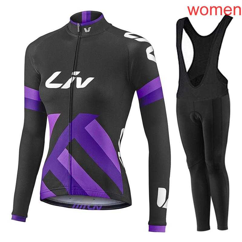 New Women's Cycling Jersey Bike Long Sleeve shirt bib pants Road Bicycle Wear Spring Autumn racing clothes maillot Ciclismo Y320