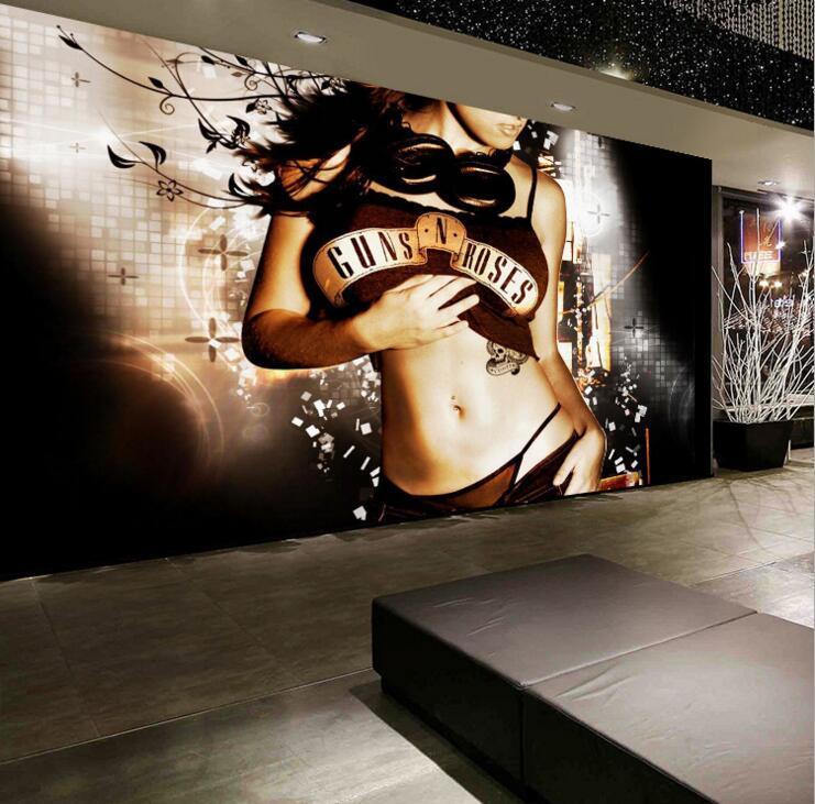 Chin Girl Wallpaper Decor Ktv Bar Beautiful Sexy Girl Wallpapers Golden