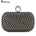 New Women's Banquet Clutch Geometric Stripe Diamond Rings  Evening Bag Wedding Party Dinner Handbag Purse Chain Shoulder Bag