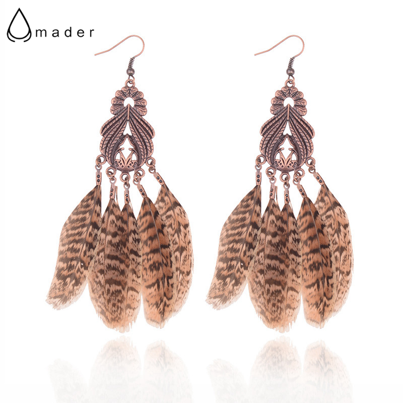 Amader 2018 Summer Beach Drop Earrings Charm Brown Color Feather Earrings For Women Accessories Bijoux Jewelry HQE797