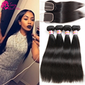 Sassy Girl Brazilian Straight Hair With Closure Straight Hair With Closure Brazilian Virgin Hair 4 Bundles With Closure 4*4