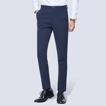 גברים של קמטים משלוח מקרית למתוח מוצק מכנסיים צפצף שטוח מול Slim ישר Fit קיץ דק כהה כחול עסקי שמלת מכנסיים