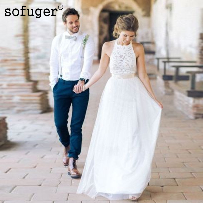 White Bridal Dress Vestido De Noiva Simple Beach Wedding Dresses Halter Neck Lace Backless Long Tulle Bridal Gown