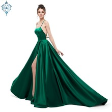 Ameision Green Evening Dress 2019 A Line Satin with Spaghetti Straps Long Prom Party Side Split Abendkleider Gowns