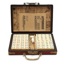 Portable Vintage Mahjong, 144 Tiles Mah Jong Set Multi Color Portable Vintage Mahjong Rare Chinese Toy with Bamboo Box