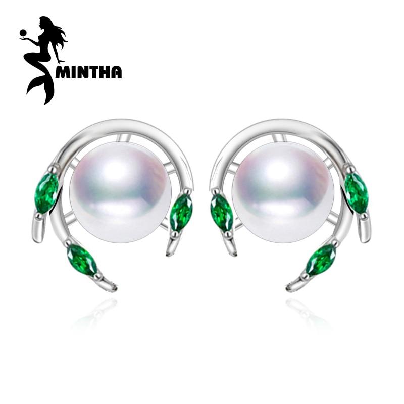 MINTHA Pendientes de perlas de esmeralda, pendientes de piedras - Joyas - foto 1